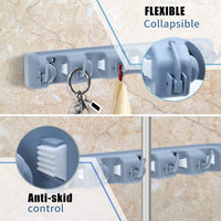 Explore auwey broom mop holder wall mount with hook gripper slot garden storage rack mop broom handle kitchen storage garage garden tools commercial organizer grey 5 position 6 hooks