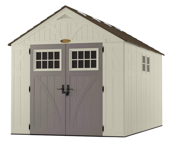 Online shopping suncast 13 x 8 tremont storage shed with windows outdoor storage for backyard tools and accessories all weather resin material transom windows and shingle style roof