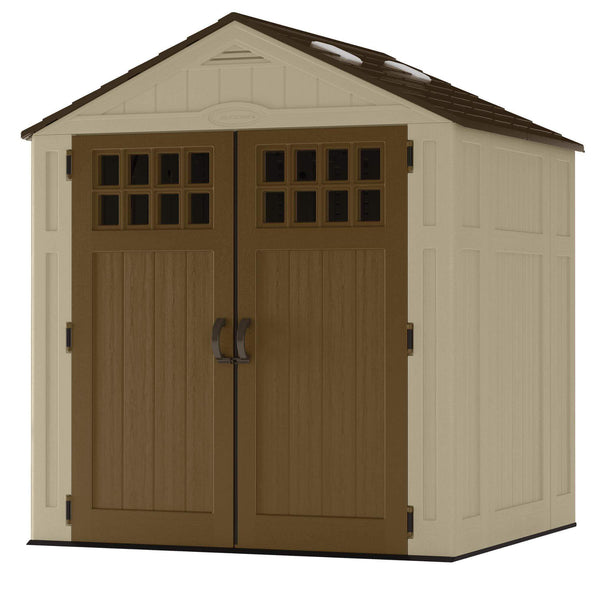 On amazon suncast 6 x 5 everett storage shed outdoor storage for backyard tools and accessories all weather resin material transom windows and shingle style roof wood grain texture