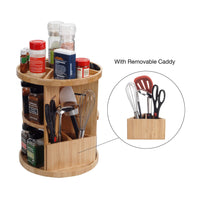 Order now bamboo 360 rotating spice rack adjustable multi level kitchen organizer with holder for utensils spatulas serving spoons other cooking tools