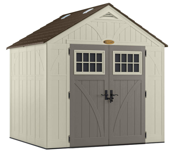 Buy now suncast 8 x 7 tremont storage shed with windows outdoor storage for backyard tools and accessories all weather resin material transom windows and shingle style roof