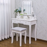 Selection bewishome vanity set with mirror cushioned stool dressing table vanity makeup table 5 drawers 2 dividers movable organizers white fst01w