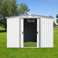 Storage ainfox 8x8 storage shed with foundation kit outdoor steel toolsheds storage floor frame kit utility garden backyard lawn warm white 8x8 storage shed with floor base kit