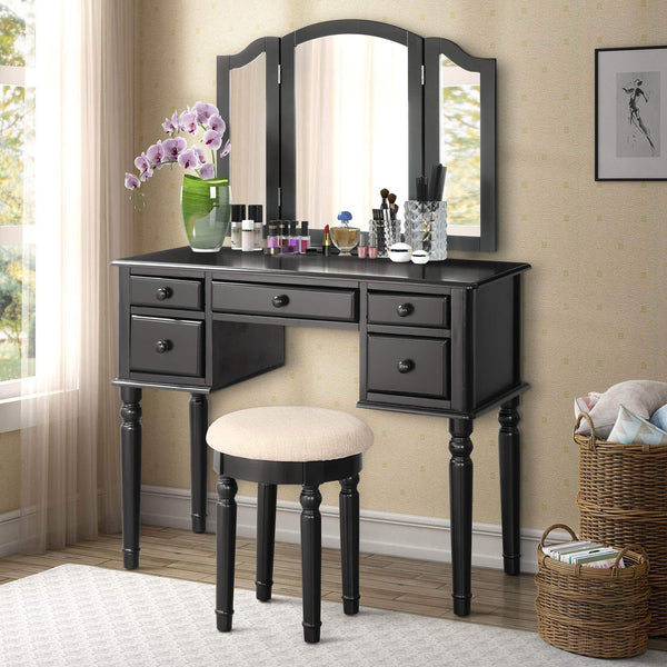 Buy now harper bright designs vanity set with 5 drawers make up vanity table make up dressing table desk vanity with mirror and cushioned stool for women girls black