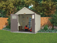 Exclusive suncast 8 x 7 tremont storage shed with windows outdoor storage for backyard tools and accessories all weather resin material transom windows and shingle style roof