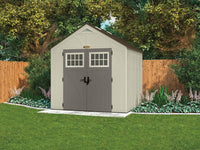 Explore suncast 8 x 7 tremont storage shed with windows outdoor storage for backyard tools and accessories all weather resin material transom windows and shingle style roof