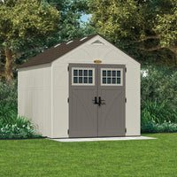 Save suncast 8 x 10 tremont storage shed outdoor storage for backyard tools and accessories all weather resin material transom windows and shingle style roof