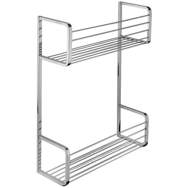 BA Hotel Wall Shower Caddy Double Shelf Organizer for Shampoo, Soap - Brass