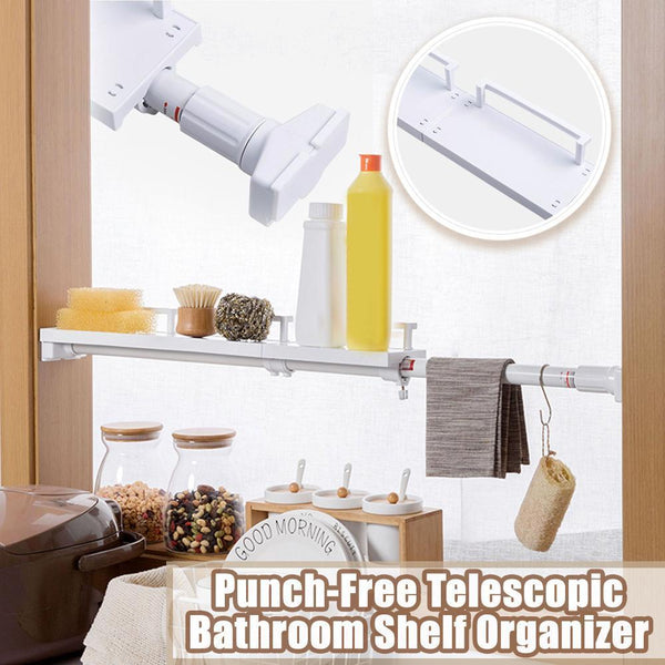 Punch-Free Telescopic Bathroom Shelf Organizer