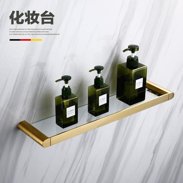 304 Stainless Steel Corner Shelf Organizer Brushed Gold Bathroom Hardware Ser Bathrom Shower Shelf Wall Mounted