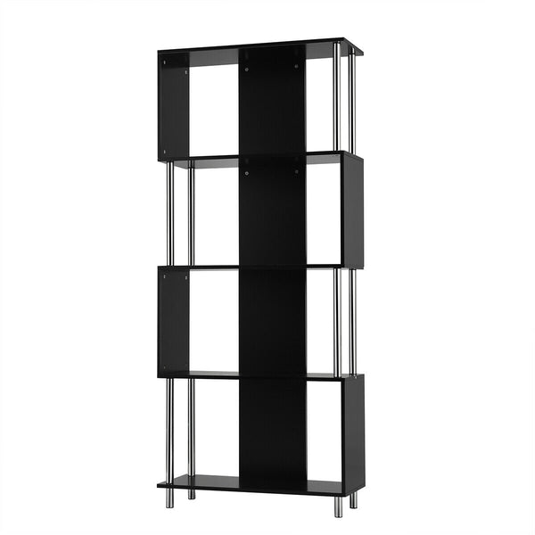 4-Tier Bookcase Modern Display Shelf Organizer Snaking Storage Rack-Black