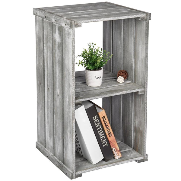 2 Tier Dark Gray Wood Crate Design Storage Shelf Organizer Cubby