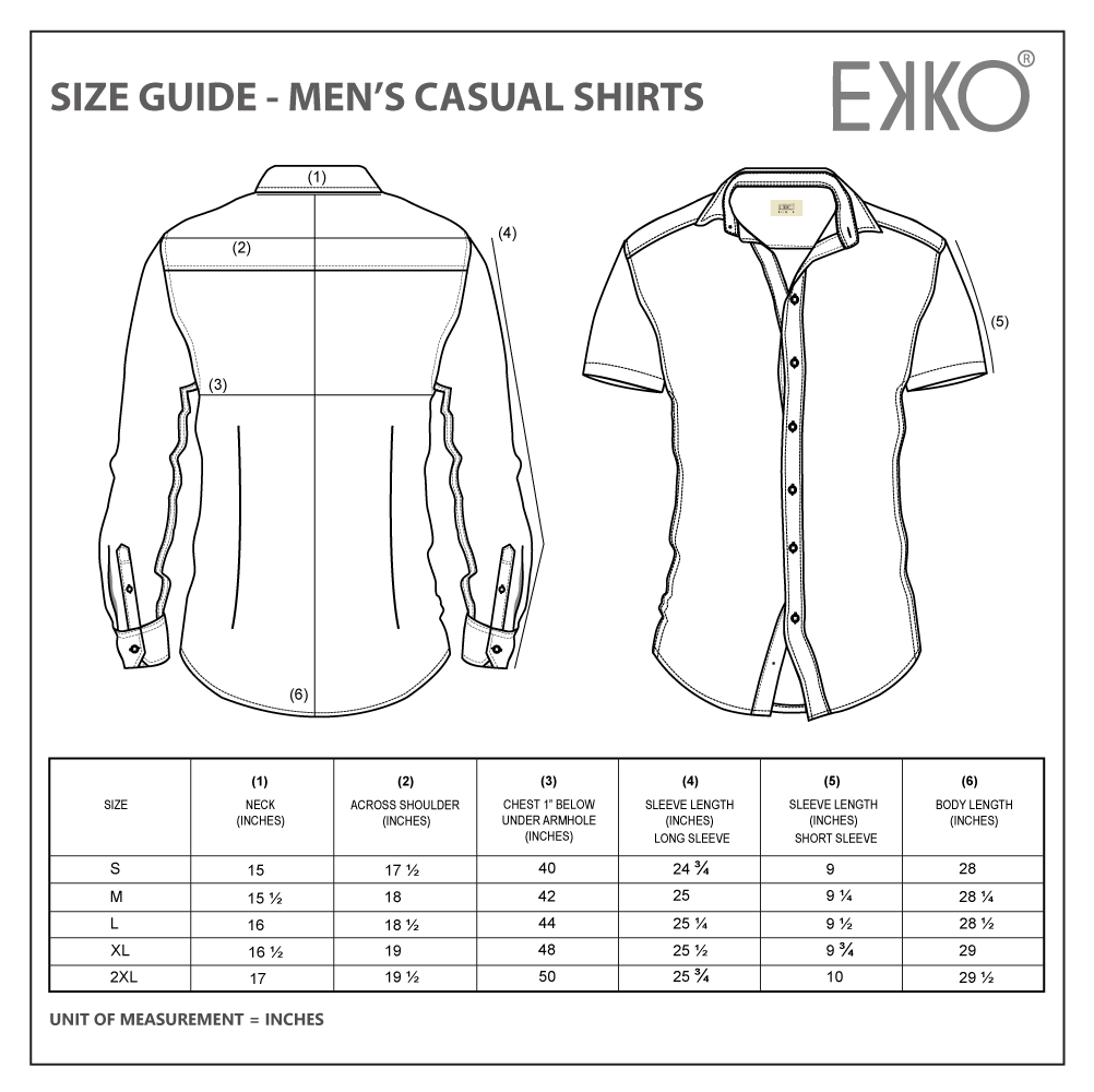 Size Guide Men's Casual Shirts - EKKO - Casual Shirt Size Chart Sheet - Online Clothing Store in Sri Lanka