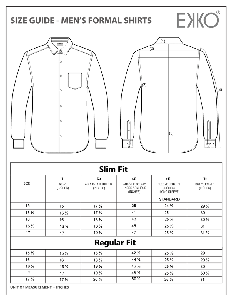 Men's Formal Shirt Size Chart - Buy Online Clothes in Sri Lanka looking at the Size Chart - Clothes Measurement in Sri Lanka