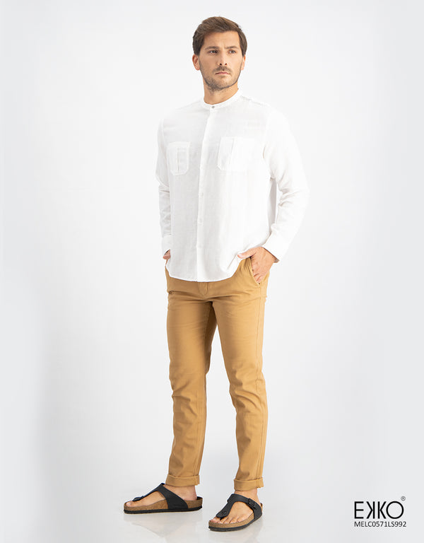 Linen Cotton Long Sleeve Shirt - MELC0571LS992