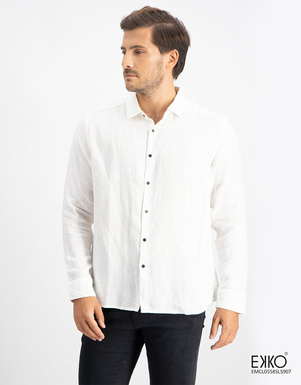 Linen Cotton Long Sleeve Shirt - EMCL0558SLS907