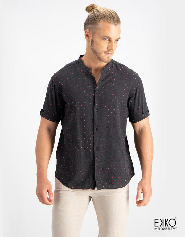 Linen Cotton Short Sleeve Shirt - MELC0439LS