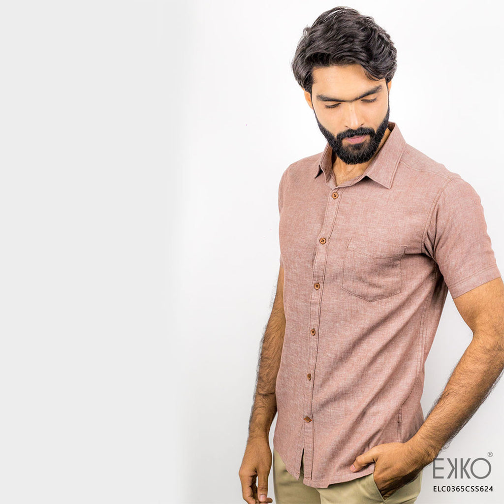 Burghandy - Short Sleeve Shirt | EKKO - Clothing with a Model