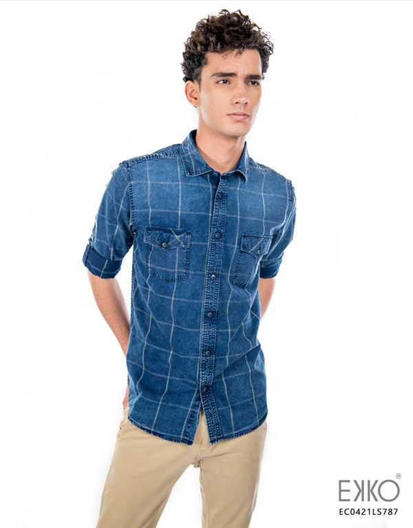 Cotton Long Sleeve Shirt - MEC0421LS  - Shopping in Sri Lanka Stipes and Checks Shirt, Fashion Bug,