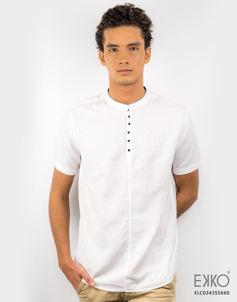 Linen Blended Short Sleeve Shirt ELC0343SS