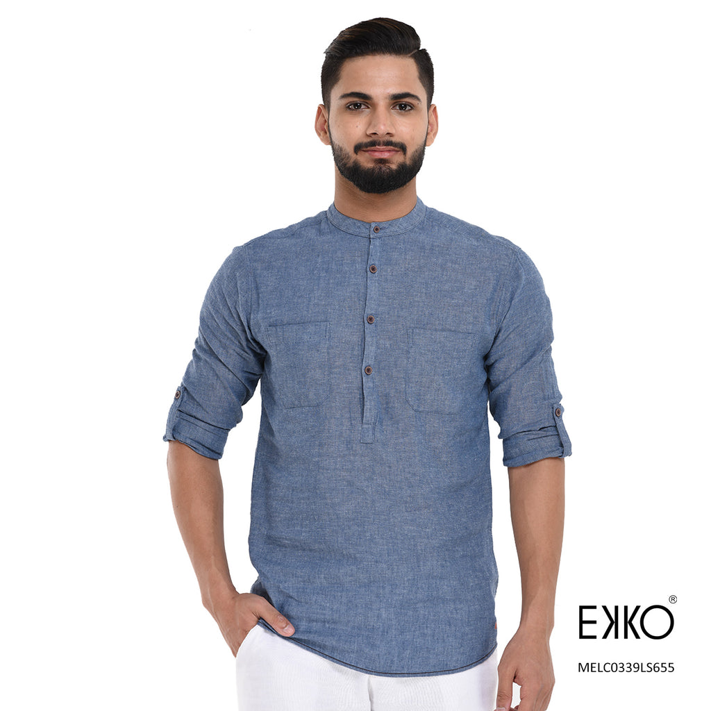 Linen Cotton Roll-Up Shirt MELC0339LS