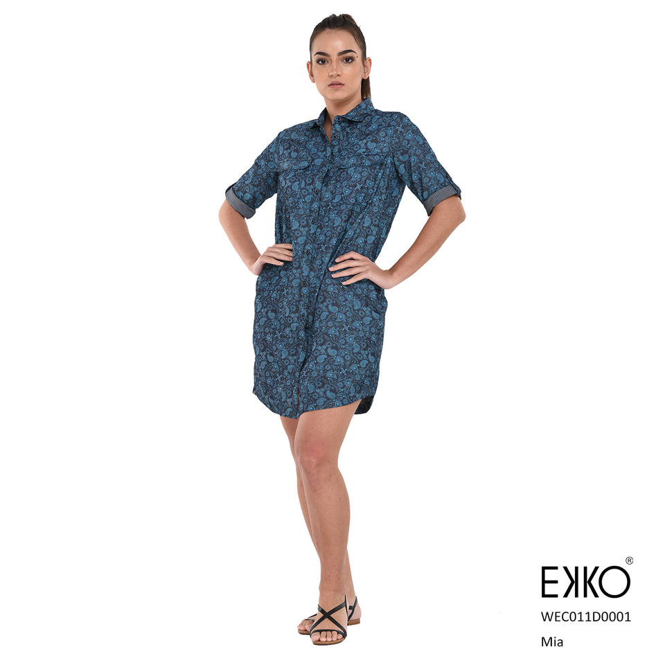 Mia Shirt Dress - 100% Cotton Indigo