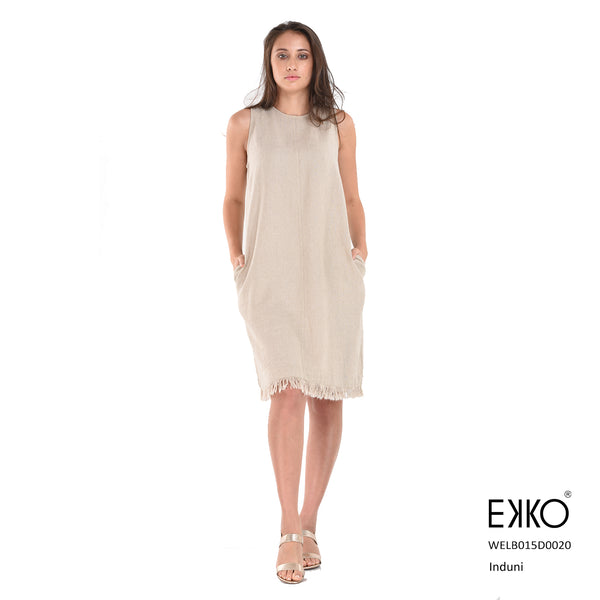 Induni Tussle Hem Dress - Linen Blend
