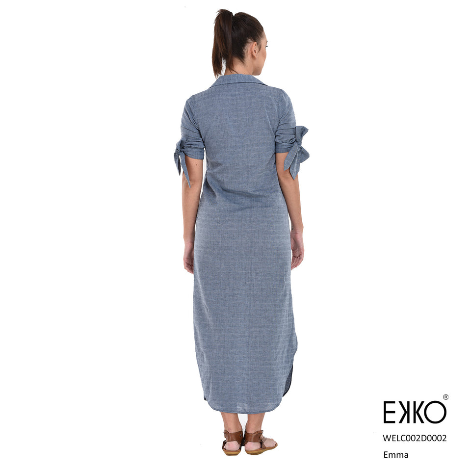 Emma Side Slit Dress - Linen Blend