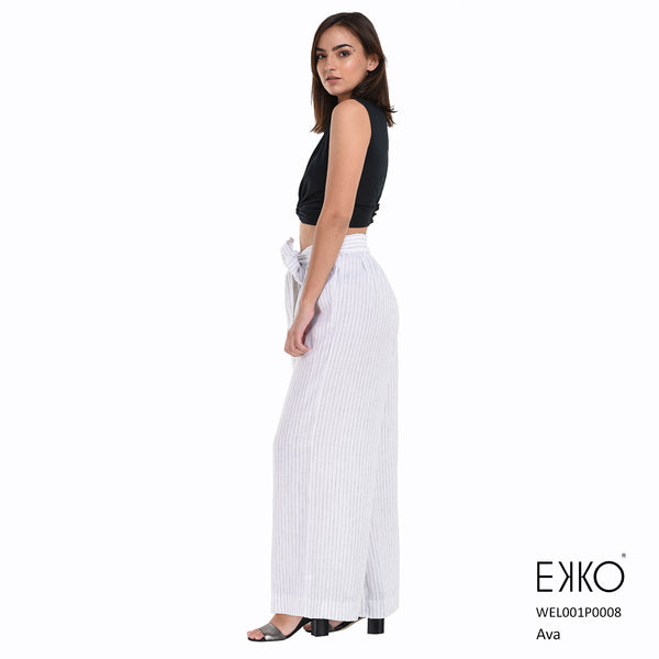 Ava Front Bow Pant - 100% Linen | Buy Pants in Sri Lanka | EKKO