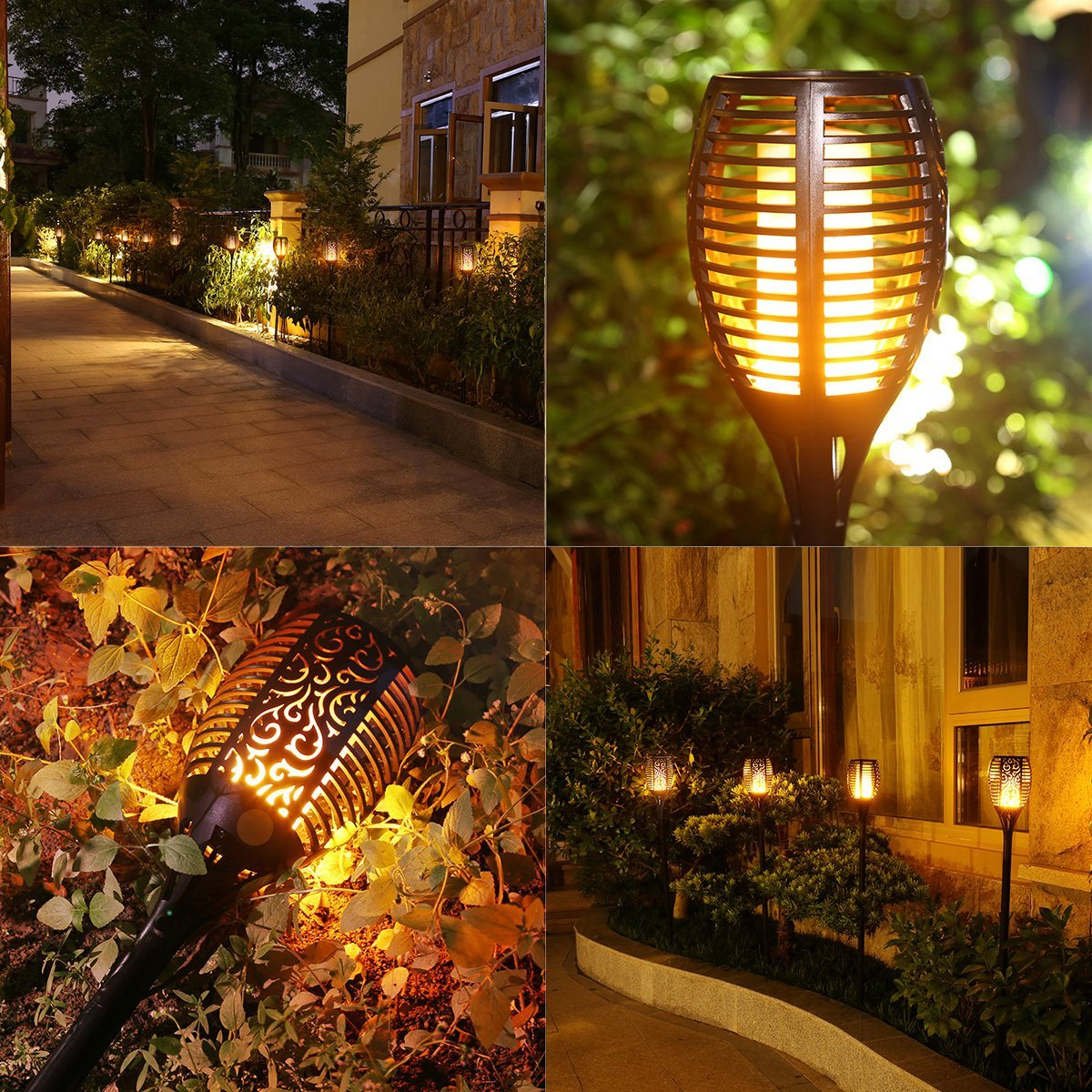 Solar outdoor landscape flame light