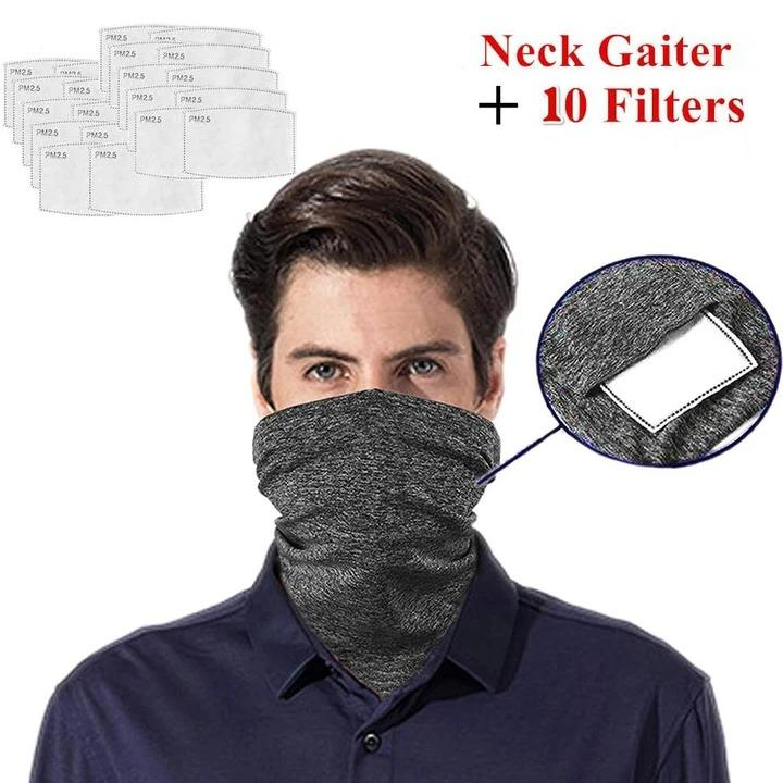 Multi-purpose Neck Gaiter with Safety Carbon Filters