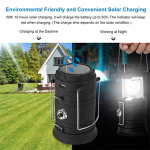 3-in-1 Camping Lantern, Portable Outdoor LED Flame Lantern Flashlights