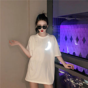 Fashion new super fire glittering moon short sleeve loose T-shirt