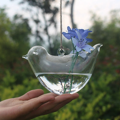 Bird Glass Vase Bottle