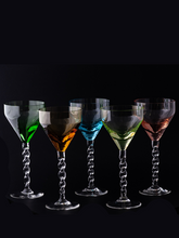 Load image into Gallery viewer, Vintage Colored Wine glasses. Set of 5