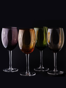 Vintage Colored Wine Glasses Set of 4
