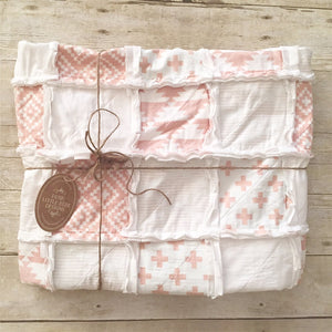 Modern PInk and White Rag Quilt- The Beth