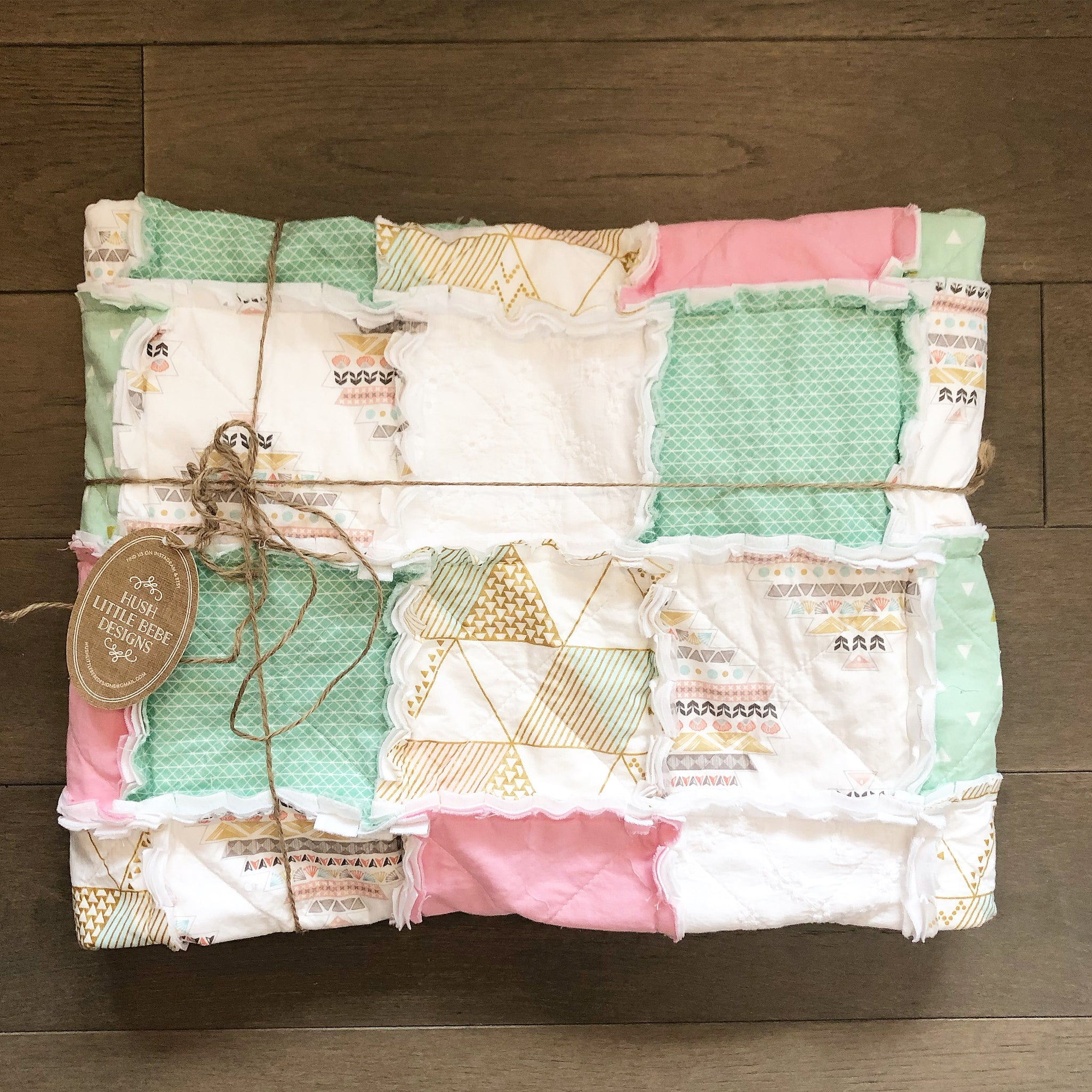 Baby Blanket - The Lila - Mint, Pink, & Gold Rag Quilt- Ready to Ship