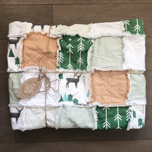 Modern Green, White & Beige Woodland Baby Rag Quilt - The Willie- Ready to Ship