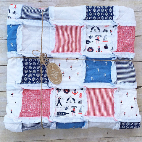 Nautical Baby Rag Quilt - The Sailor
