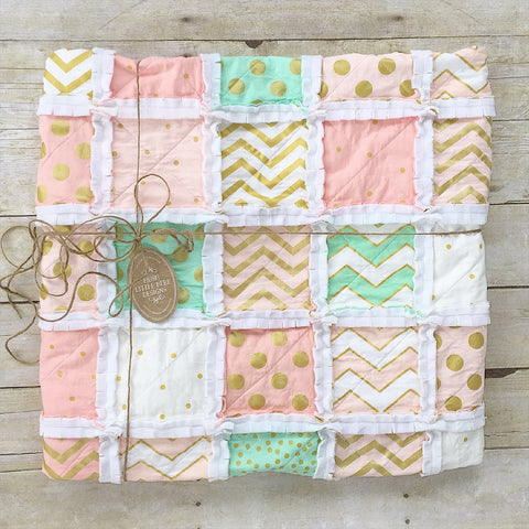 Mint, Pink, & Gold Rag Quilt - The Nora