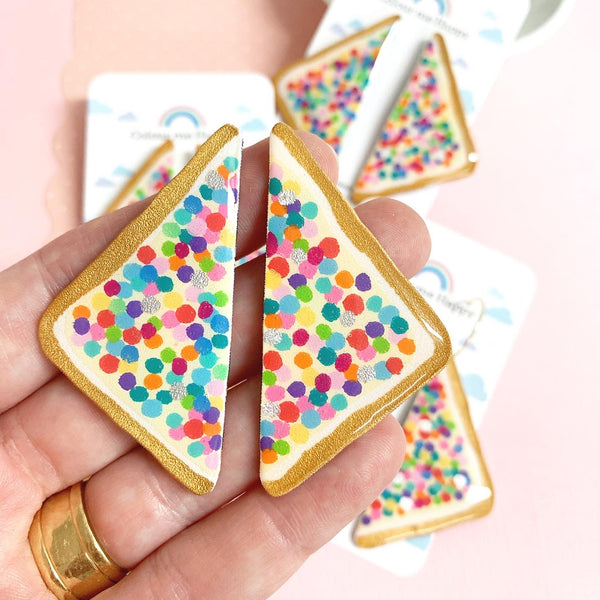 Rainbow FAIRY BREAD Handpainted Earrings