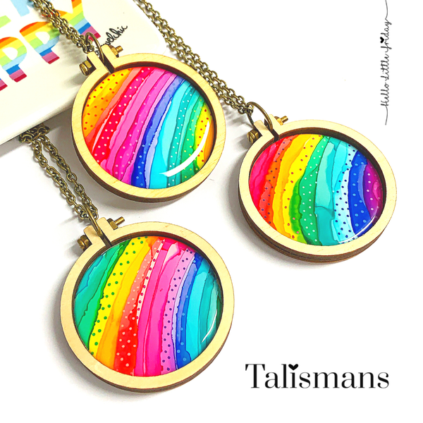 RAINBOW TALISMAN PENDANTS ~ Handpainted Resin Wearable Works of Art