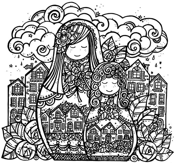 The Gypsy Girls Art Print & Colouring Set ~ 2 x 148mm square prints