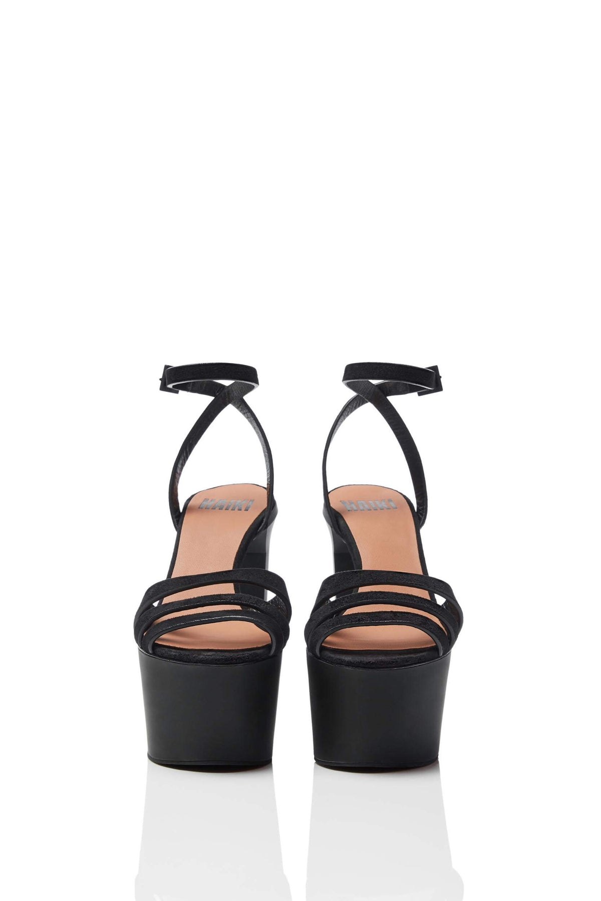 HAIKI 801 – Multi-band platform sandal with self-adjusting ankle strap. Made of Soft Kidsuede in black.