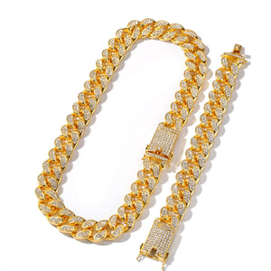 24K GOLD CUBAN CHAIN & BRACELET