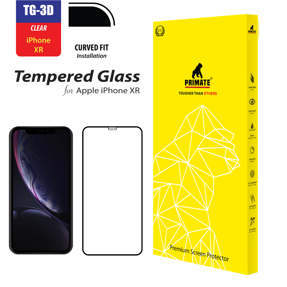 iPhone XR Clear Real Curve Double Tempered Glass Premium Screen Protector