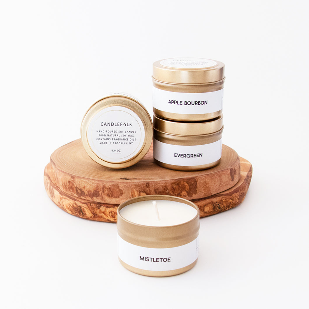 Bundle of 4 Holiday Gold Travel Candles <br> ($52 Value)