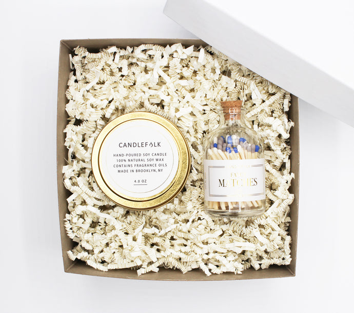 Gold Travel Candle & Matches Gift Set
