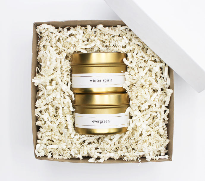 Gold Travel Candle Gift Set